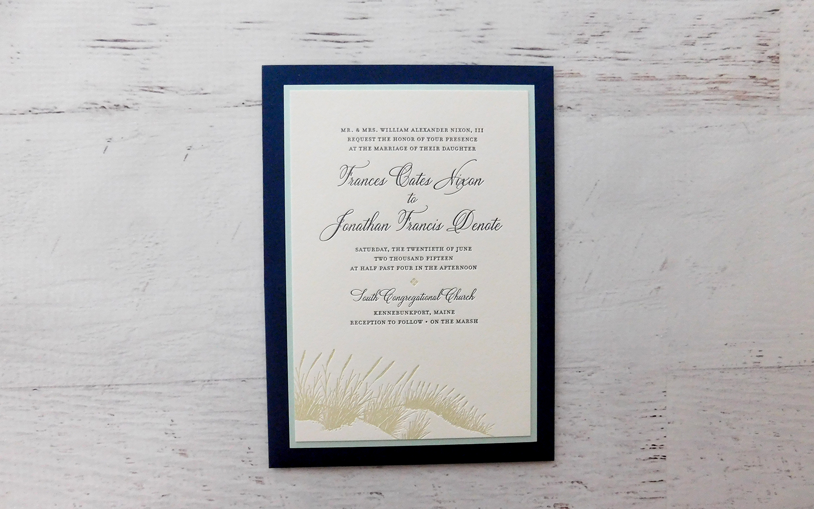 Refined Seaside Wedding Invitation - Admire Design   Custom Event Paper